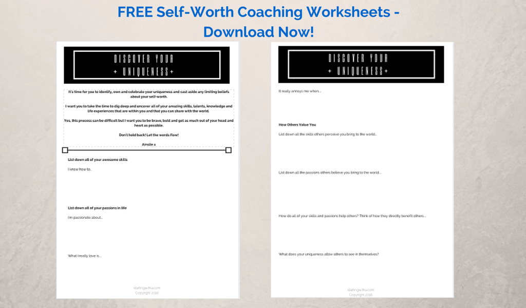 FREE - Self-Worth Coaching Worksheets